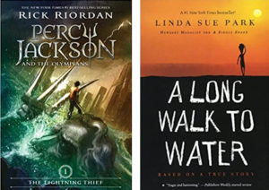 book covers for The Lightning Thief and A Long Walk to Water