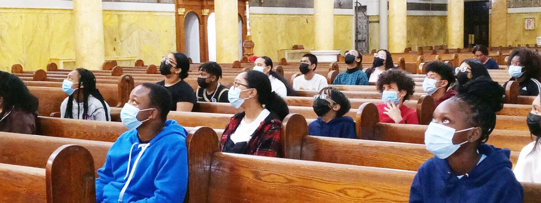 students in church